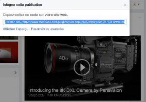 Intégrer l'affichage vidéo de Facebook dans votre site web