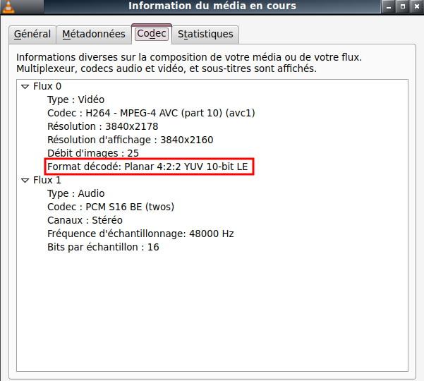 Informations sur le codec vidéo avec VLC