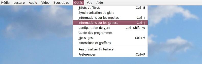 Informations sur les codecs vidéo avec VLC